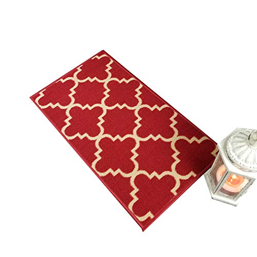 Doormat 18x30 Red Trellis Kitchen Rugs and mats | Rubber Backed Non Skid Rug Living Room Bathroom Nursery Home Decor Under Door Entryway Floor Carpet Non Slip Washable | Made in Europe