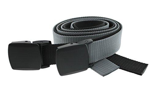 Detachable Belt Buckle - Thomas Bates Trekker 2-Pack Belt Nylon Web, Detachable Metal-Free Buckle 1-1/4