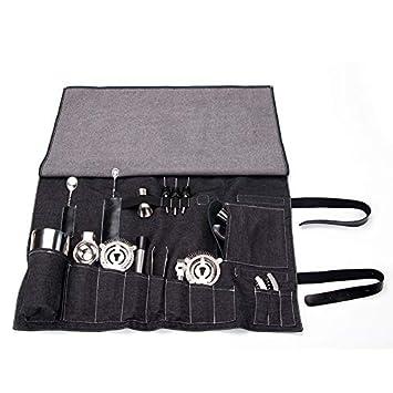Bartender Kit Roll Bag, Portable Large Bar Case Bag, Bartender Travel Bag for Cocktail Kits, Home and Workplace Cocktail Making Denim Bag for Travel Not Include Tools