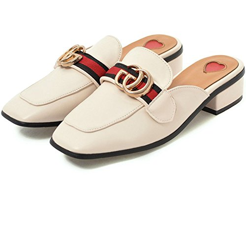 Toe Cicime Mules On 9 Loafers Slide Slippers Black Heel Square Women's Backless Slip Low Beige gqqFxXwf