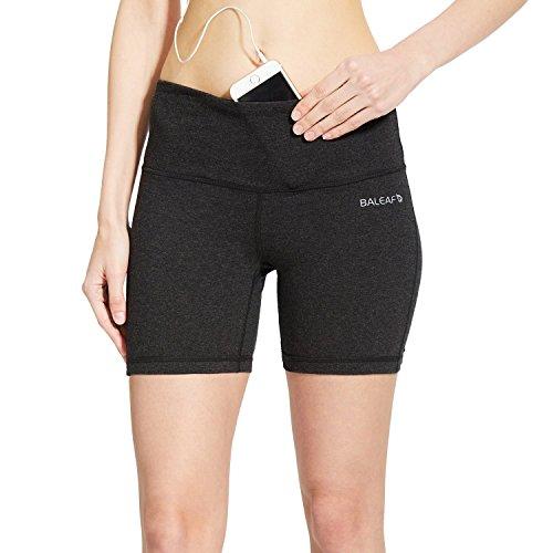 "BALEAF Women's 5"" Compression Shorts for Bike Volleyball Yoga Exercise Inner Pocket for 5.5"" Mobile Phone"