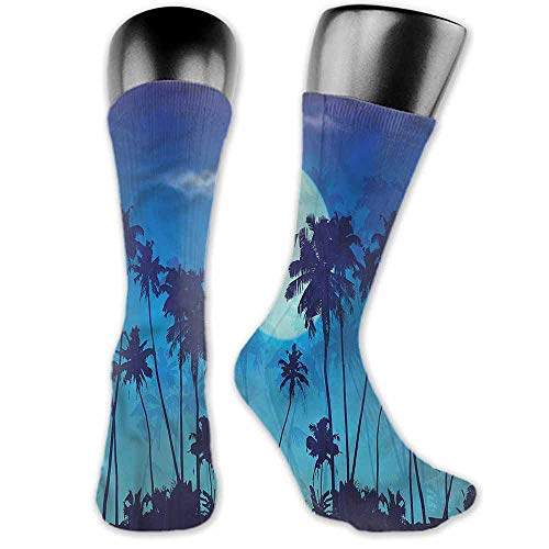 a Socks casual male Dark Blue,Full Moon Twilight Scene,socks women cotton