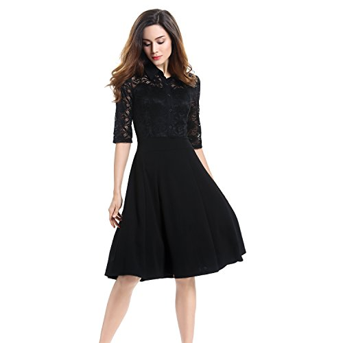 Lace Dress, Vitalismo A-line Knee Length Half Sleeve Cocktail Party Dress (S, BLACK) (Mod Swing Coat)