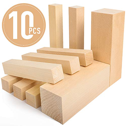 """Basswood Carving Blocks - 5ARTH Large Beginner's Premium Wood Carving/Whittling Kit, Suitable for Beginner to Expert - 10 Pcs with Two 6""""x 2""""x 2"""" and Eight 6""""x 1""""x 1"""" Unfinished Wood Blocks"""