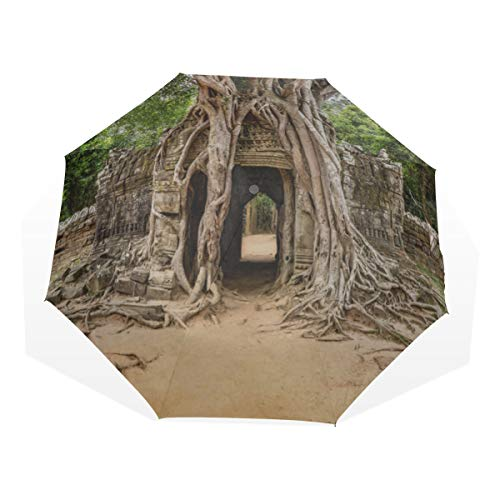 Travel Umbrella Sunrise Angkor Wat Siem Reap Cambodia Anti Uv Compact 3 Fold Art Lightweight Foldable Umbrellas(outside Printing) Windproof Rain Sun Protection Umbrellas For Women Girls Kids (Som Ta)