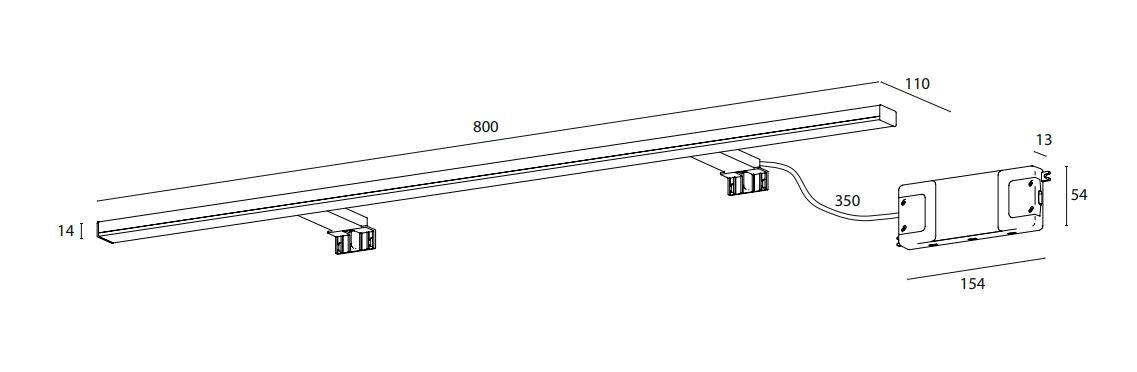 12 Watt 1309LM 5700K Tageslichtwei/ß IP44 LED Spiegelleuchte Klemmleuchte Schrankleuchte East 80cm verschiedene Montagem/öglichkeiten f/ür Spiegel und M/öbel CONCEPT2U