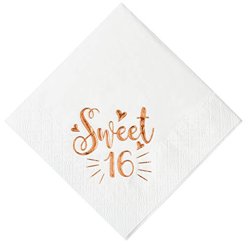 Crisky Sweet 16 Cocktail Napkins for 16th Birthday