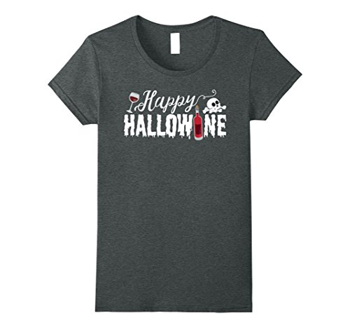 Bottle Moscato Wine Costume (Womens Cute Happy Hallowine Funny T-Shirt for Halloween Medium Dark)