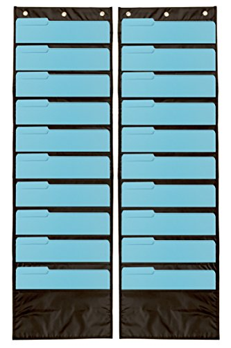 2-Pack Premium Wall Storage Pocket Charts / Organizers (Black) - The Perfect Pocket Chart for Classroom, School, Office or Home Use