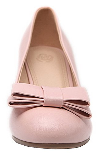 Toe Solid Round Shoes Pu Women's Kitten Pumps AllhqFashion Closed Pink On Heels Pull tgnW4xCHwq