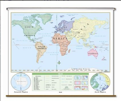 World Beginner Classroom Map on Roller by Universal Maps