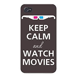 Apple Iphone Custom Case 5c White Plastic Snap on - Keep Calm and Watch Movies w/ 3D Glasses