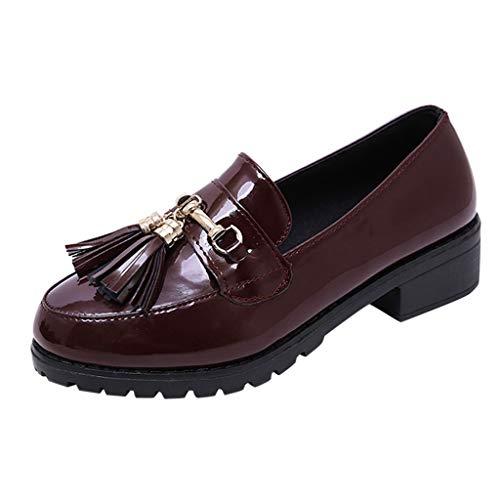 Tacón Retro Cuero Boca Baja Flecos Vino Metal Pequeños Moda Mujer De Zapato Bajo qHRIUU