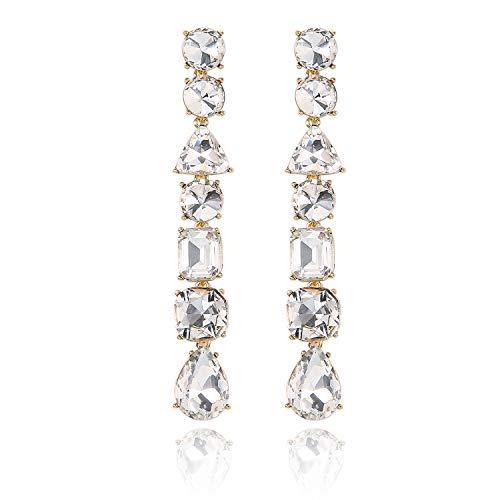 Hanloud Gold Plated Long Clear Rhinestone Crystal Geometric Earrings for Women