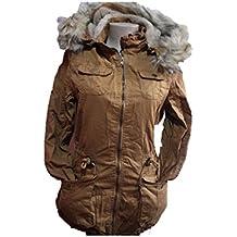 YMI New Fashion Cotton Fur Lining Thick Winter Drawstring Hoodie Camel Jacket Coat ML