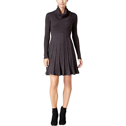 Calvin Klein Women's Long Sleeve Cowl Neck Sweater Dress, Charcoal, X-Large