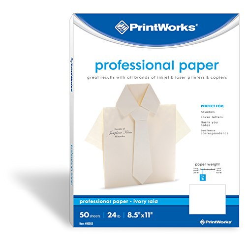 PrintWorks Professional Stationery Paper for Resumes & Business Letters, 24 lb, Ivory Laid, Laser/Inkjet, 8.5 x 11 inches, 50 Sheets (00553)