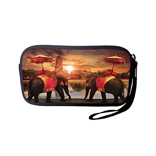 (Neoprene Wristlet Wallet Bag,Coin Pouch,Asian,Animals Dressing Traditional Costumes Standing in Front of Pagoda Patience Symbol Print Decorative,Multi,for Women and)