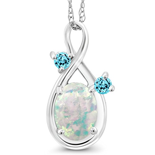 - Gem Stone King 0.73 Ct Cabochon Simulated Opal & Swiss Simulated Topaz 14K White Gold Pendant