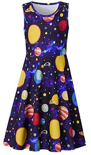 Funnycokid 6-7Y Galaxy Dress for Girls Kids Swing