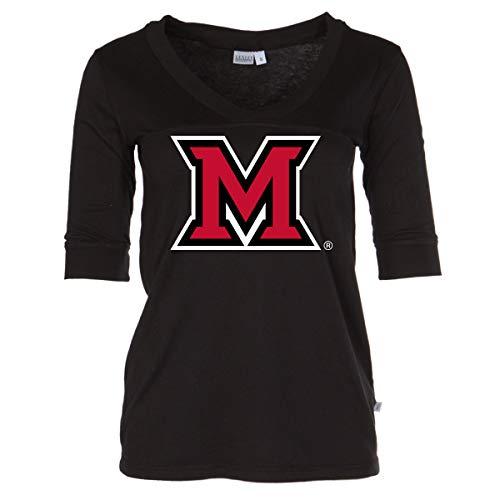 Official NCAA Miami University RedHawks - Women's 3/4 Sleeve Football V-Neck Tee -