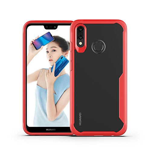 Price comparison product image DAMONDY Huawei P20 Lite Case,  3D Slim Super Clear Shockproof Anti Scratch Protective Soft Tough Bumper Back Phone Case Cover for Huawei P20 Lite 2018 -red