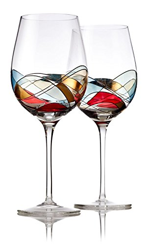 (Bezrat Red Wine Glasses Set of 2, Unique Hand Painted Wine Glasses, Drinkware Essentials, 11