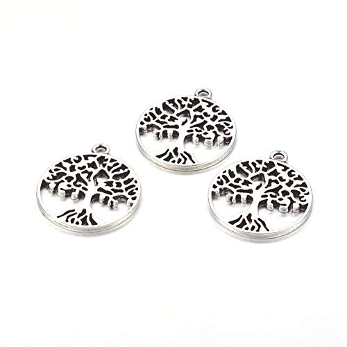 Craftdady 10Pcs Antique Silver Flat Round Tree of Life Pendants 29x25mm Lead Free Tibetan Style Metal Lucky Charms for DIY Jewelry Craft Making