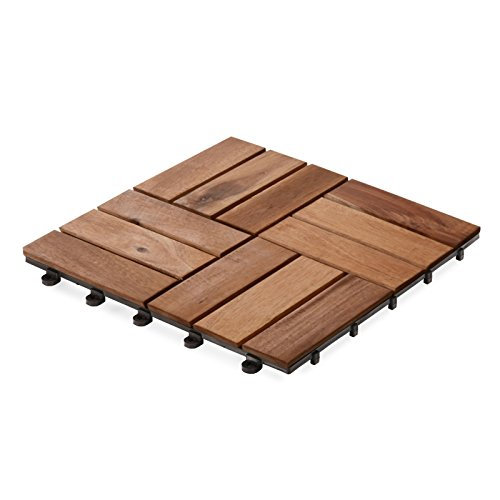 casa pura Interlocking Patio Tiles | Acacia Wood Deck Flooring | Suitable for Indoor and Outdoor Applications | Check Pattern | 12x12 inches - Pack of 11 Tiles