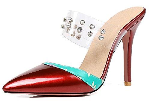 Rouge Pointue Strass Talon Sexy Mules Aisun Haut Imprimé Transparent Femme qBUT1U