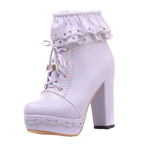 YE Damen Chunky Plateau High Heels PU Leder Schnür Stiefeletten mit Blockabsatz Reißverschluss Retro Elegant Herbst Winter Schuhe Short Ankle Boots Lila