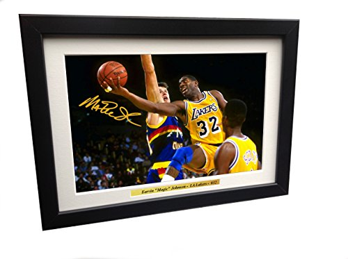 Earvin Magic Johnson 12x8 A4 Signed LA Lakers - Autographed Basketball NBA Photo Photograph Picture Frame Gift by Kicks