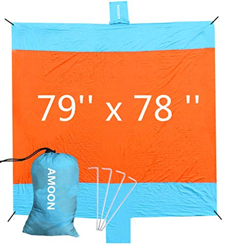 Sand Free Beach Blanket, AMOON Large Sand Proof Beach Blanket Mat 79''x 78'' with Sand Pocket, Lightweight, Portable, Quick-Drying, Waterproof, Ideal for Camping, Travel, Festivals