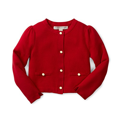 (Hope & Henry Girls' Red Milano Stitch Cardigan Size 18-24 Months )