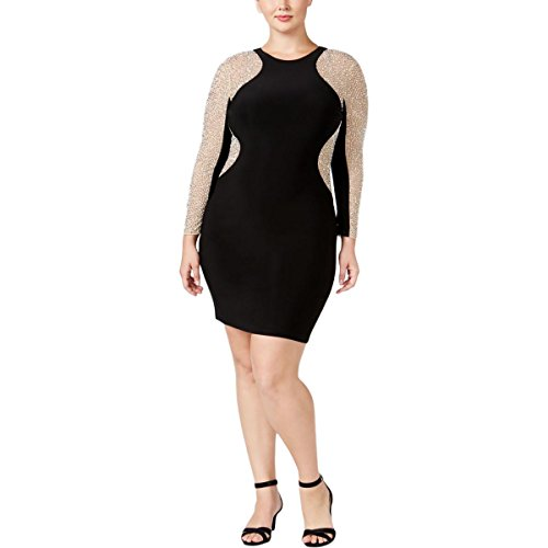 Xscape Womens Plus Mesh Inset Beaded Cocktail Dress Black 14W