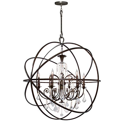 - Crystorama 6816-DR, Winslow Candle 1 Tier Chandelier Lighting, 6 Light, 360 Total Watts, Rust