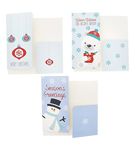 Christmas Greeting Cards - 36 Pack Assorted Winter Holiday Christmas Cards - 6 Winter Holiday Designs, Ornaments, Polar Bears, Stockings, Snowflakes, Merry Christmas 4 x 8 Envelopes Included by Juvale Photo #4