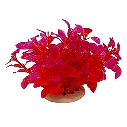 eDealMax Jardin acuario de plástico plantas del acuario Decoración, Rojo/púrpura