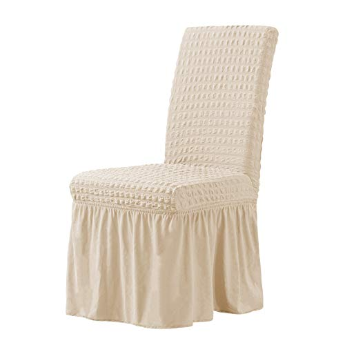 CHUN YI Stretchy Universal Easy Fitted Dining Chair Cover Slipcovers with Skirt, Removable Washable Anti-Dirty Furniture Protector for Kids Pets Home Ceremony Banquet Wedding Party (Light Khaki)