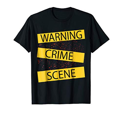 Crime Scene Tape Shirt With Blood Stains For Halloween