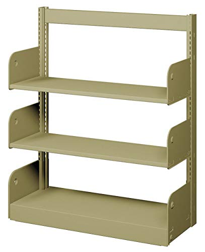 Face Shelving Starter - 36' x 10' x 42' Single Face Starter Flat Library Shelving with 3 Shelves, Ch/Putty