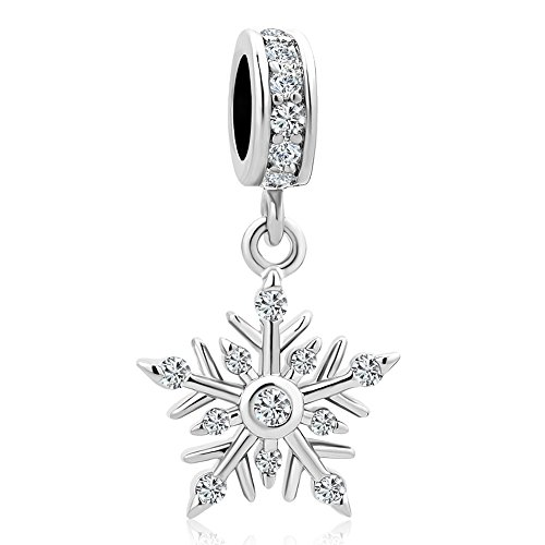 LuckyJewelry Winter Snowflake Dangle Charms for Charm Bracelets ()