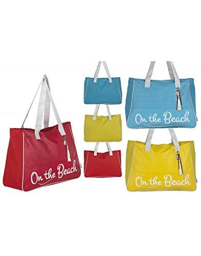 Borsa Da Spiaggia Con Manico Design Luk Originale Tre Colori Spiaggia Casa E Altro - Rot