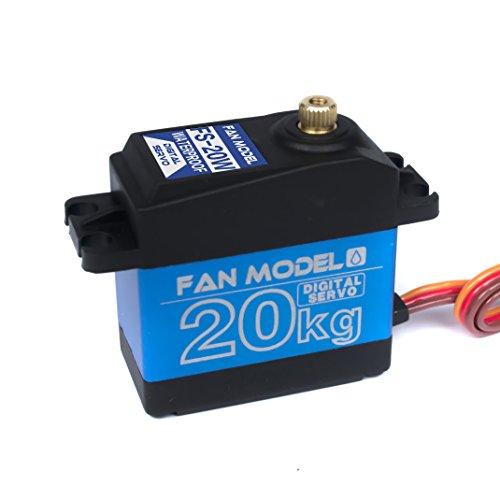 Fan Model FS-20W Waterproof High Torque Metal Gear Standard Digital Servo 20KG/.14S for 1/8 1/10 scale RC Cars (Metal 20w)