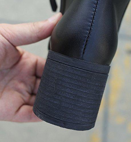hauts Automne pour talons courtes latérale à style à chaussures ronde et hiver glissière bottes tête martin bottes occidental épais femmes noir fermeture OWcwqOFrz
