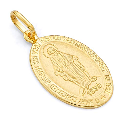 14k Yellow Gold Religious Our Lady of Guadalupe Miraculous Mary Medal Charm Pendant (17 x 11 mm) ()