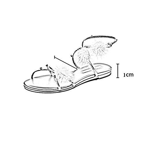 Sandales ZHIRONG Les femmes d'été doux plates à la cheville sangles de style romain pantoufles bohème plage chaussures (Couleur : Silver, taille : EU36/UK4/CN36) Or