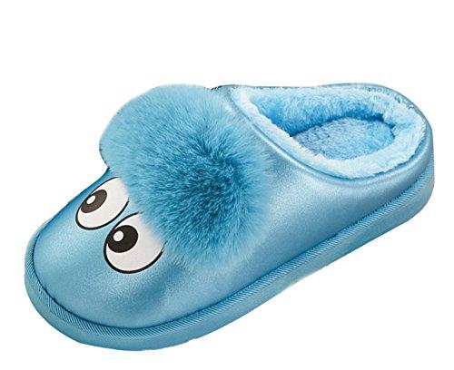 Icegrey Kinder Mädchen Jungen Warme Hausschuhe Karikatur Netter Kunstpelz Plüsch Hausschuhe Wärmehausschuhe Blau 21