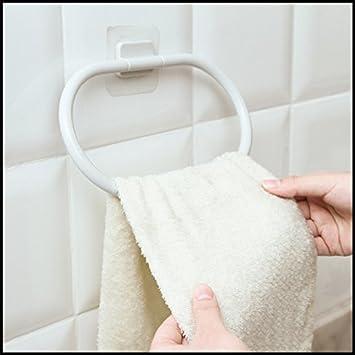 Los cuartos de baño son una succión potente de tipo anillo de toalla de baño del punzón de paja toallas colgador gancho toallero de pared de aspiración: ...