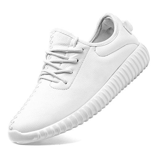 KONHILL Unisex Leichte Sportschuhe Kunstpelz Sneaker Casual Flexible Walking Laufschuhe A8901 Weiß